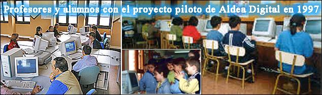 Imágenes de profesores y alumnos en la puesta en marcha del proyecto Aldea Digital (1997)
